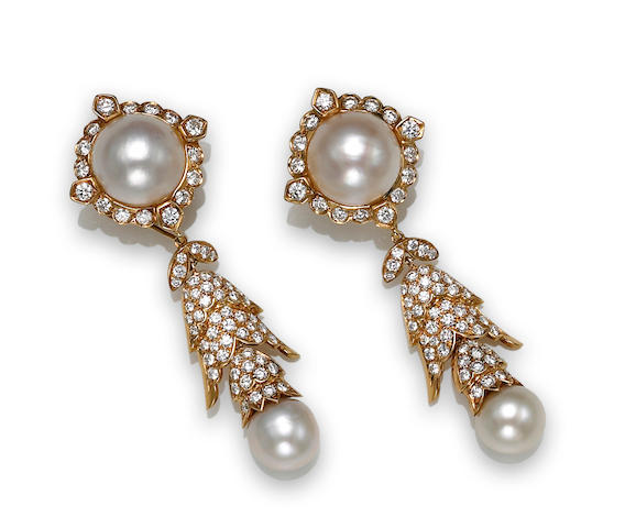 A pair of cultured pearl, mabé cultured pearl and diamond day/night earclips