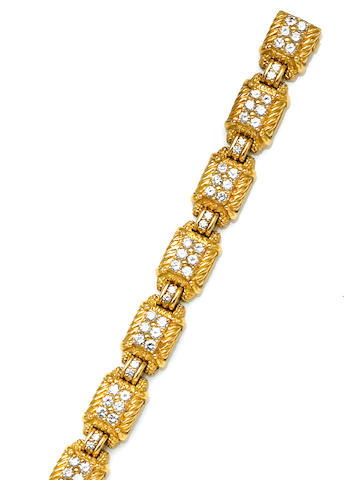 A diamond and eighteen karat gold bracelet, Judith Ripka