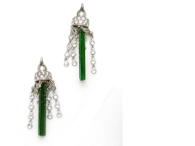 A pair of green tourmaline and diamond earrings, House of Castara