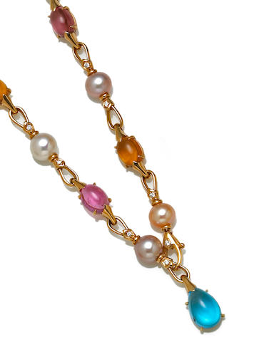 A cultured pearl, gem-set and diamond necklace, Bulgari