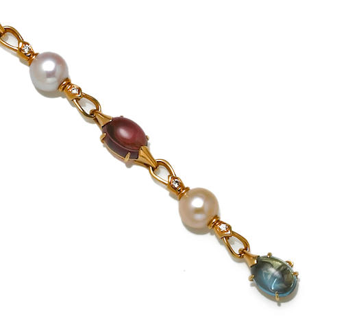 A cultured pearl, gem-set and diamond bracelet, Bulgari