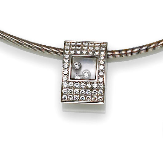 "A diamond and sapphire crystal ""Happy Diamond"" pendant with chain, Chopard"