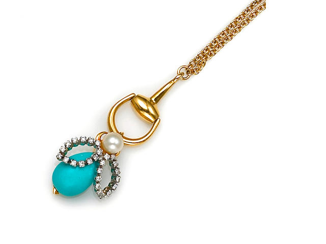 A cultured pearl, diamond and composite turquoise necklace, Gucci
