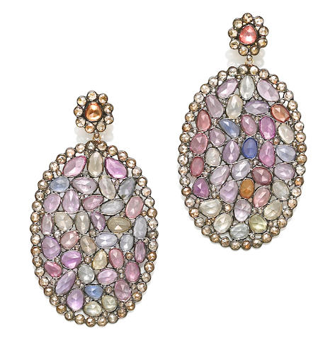A pair of multi-color sapphire and colored diamond pendant earrings