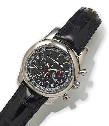 Girard Perregaux. A stainless steel automatic calendar chronograph wristwatch