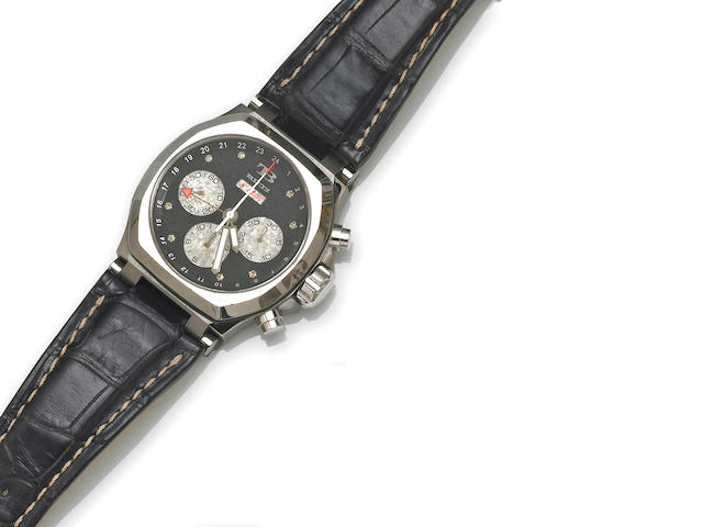 Giotto Buti. An 18k white gold automatic chronograph wristwatch