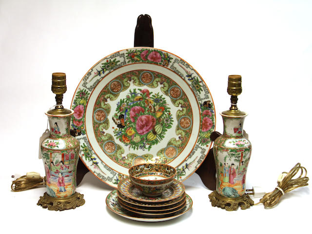 "A group of nine Canton ""rose medallion"" porcelains Late 19th Century"