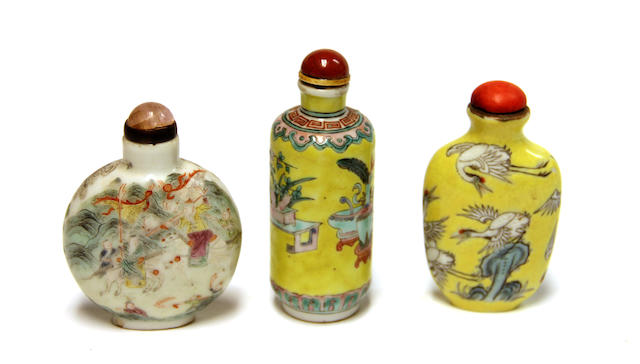 "A group of three Chinese ""famille rose"" porcelain snuff bottles, one Paoguang mark and period"