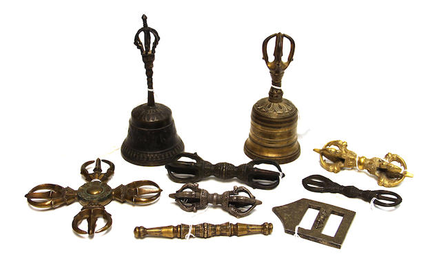 A group of Esoteric Buddhist metalwork, including 5 vajra, 2 bells one mace and one reticulated plaque