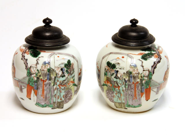 A pair of famille verte enameled porcelain small jars  Republic Period