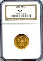 1890-CC $5 MS61 PCGS