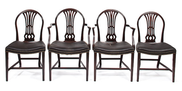 A set of twelve George III style mahogany dining chairs late 19th century