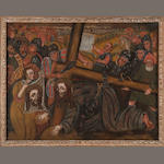Schools, Master of Huancayo, Way to Calvary with Saint Veronica, late 17th C., o/c