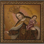 Potosí or Collao School Virgin of the Carmen; Virgin of the Rose (2) first 22 x 21 3/4in; second 9 1/4 x 6 3/4in
