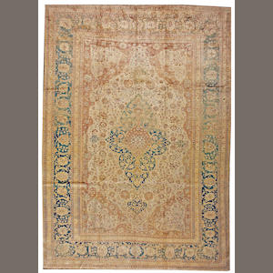 A Mohtasham Kashan silk carpet Central Persia size approximately 7ft. 8in. x 10ft. 10in
