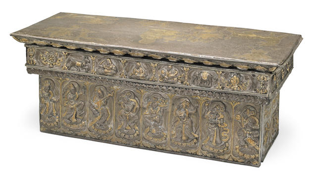 A parcel-gilt silver repoussé folding altar table (tepchog) Tibet, circa 18th century