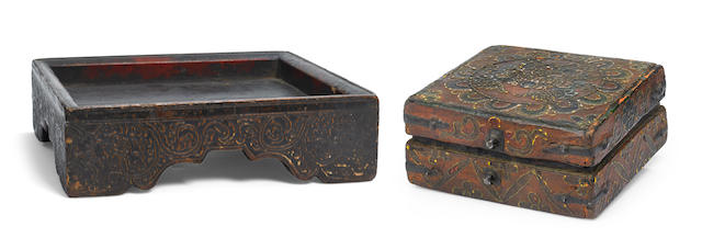 A small wooden storage box and a Grain tray  Tibet, 18th/19th century