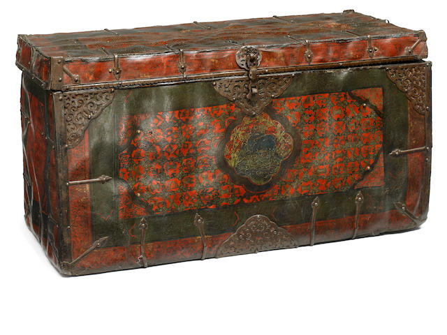 A leather bound, wood storage box Tibet, circa 15th century
