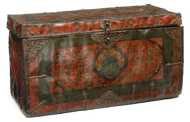 A leather bound, wood storage box Tibet, circa 15th century