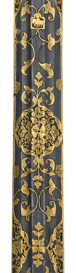 A gilt damascene pen case Tibet, 16th/17th century
