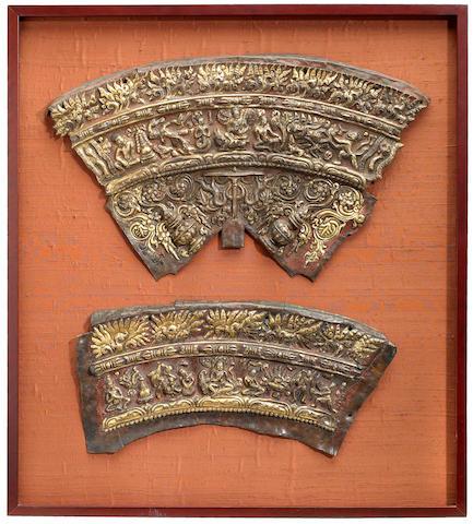 Two gilt copper repousse mandala elements Tibet, 13th/14th century