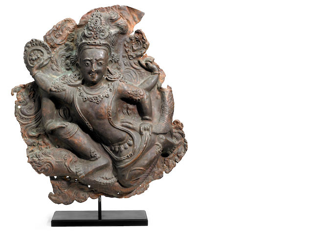 A copper alloy panel of a bodhisattva Nepal, 16th/17th century