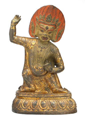 A lacquer gilt copper alloy repoussé figure of Vajrapani Mongolia, 18th century