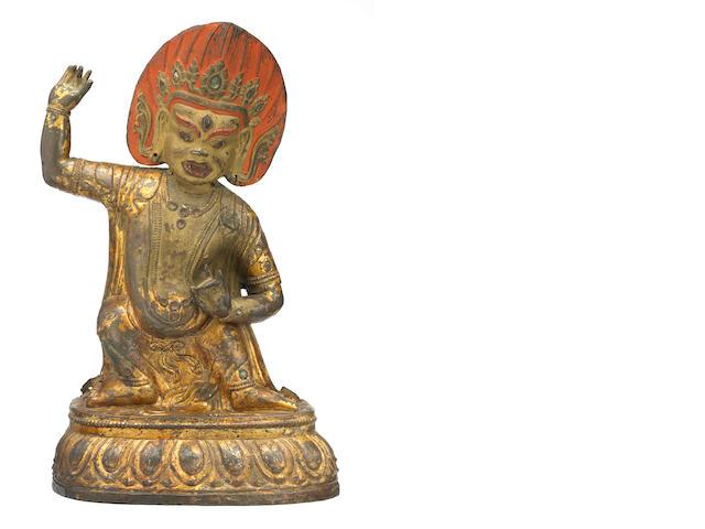 A lacquer gilt copper alloy repousse Vajrapani Mongolia, 18th century