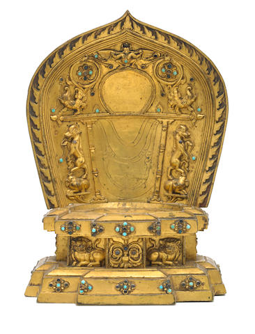 A gilt copper alloy throne for a deity Nepal, circa 14th century