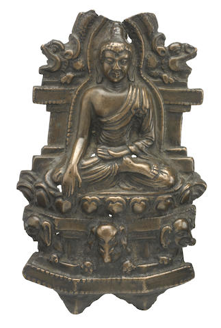 A copper alloy plaque of shakyamuni Buddha Western Tibet, 12th-14th century