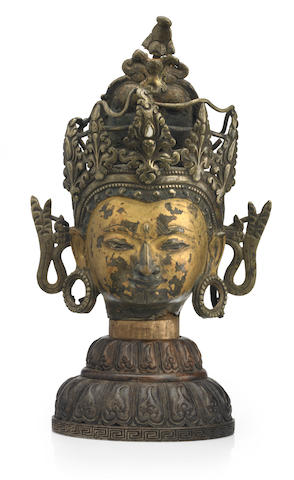 A copper alloy head of a deity Western Tibet, 12th/13th century