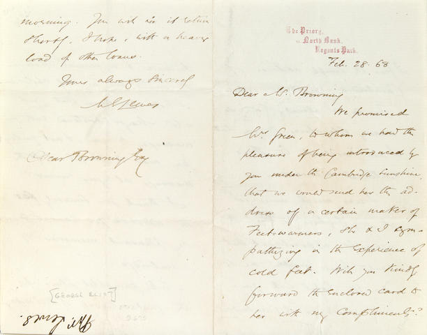 Eliot, George Letter. 1868