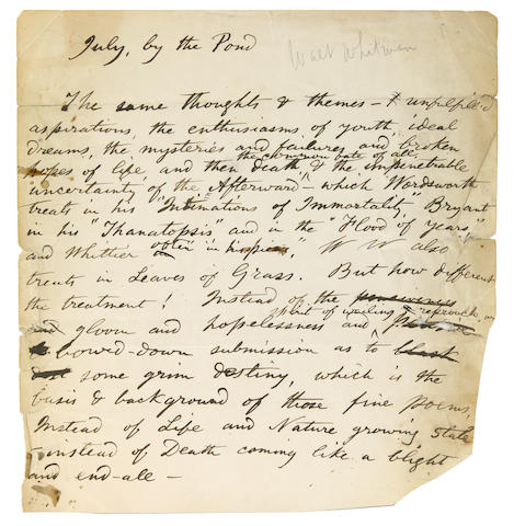 "WHITMAN, WALT. 1819-1892. Autograph Manuscript, 1 p, 4to, ""July, by the Pond,"" [Camden, New Jersey, 1876], several chips at folds, 2 separations at folds, 2 small tears affecting approximately two words of text, irregular right margin, very light toning."