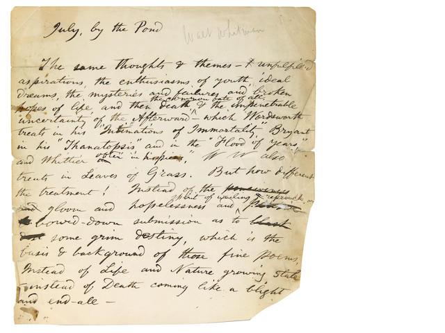 Whitman, Walt 1 page of manuscript