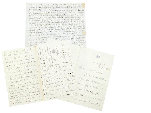 Dana, Richard Henry Sr. 3 Letters. 1844, 1857, 1867