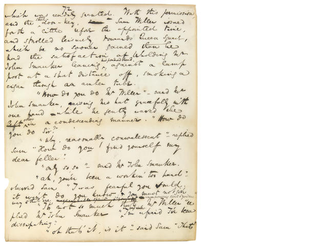 Dickens, Charles Autograph Fragment from The Posthumous Papers of the Pickwick Club. Published in 1837