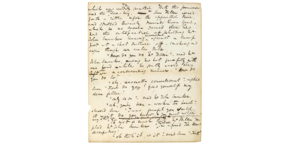 DICKENS, CHARLES. 1812-1870. Autograph Manuscript leaf from The Pickwick Papers,
