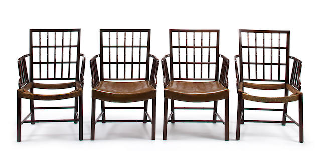A set of eight George III mahogany cockpen armchairs<BR />fourth quarter 18th century and later