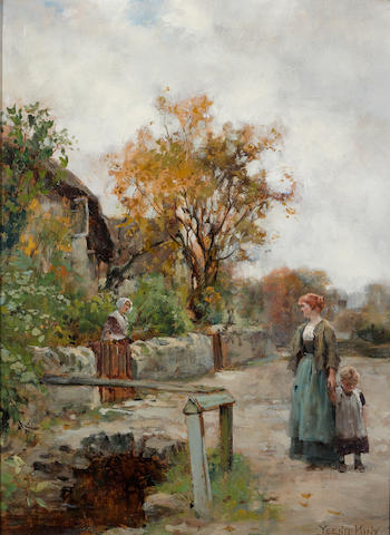 Henry John Yeend King (British, 1855-1924) A friendly visit 16 x 12in