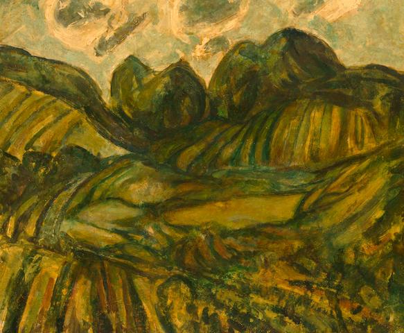 Alfred Henry Maurer (American, 1868-1932) Fauve landscape 18 x 21 3/4in