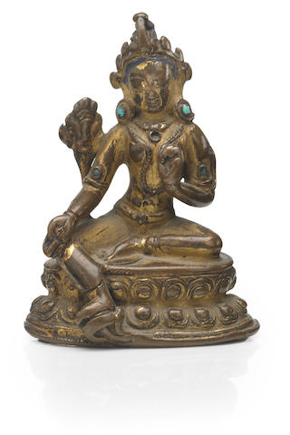 A gilt copper alloy figure of Syamatara Nepal, 12th/13th century