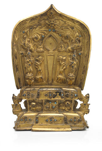 A Gilt copper alloy throne for a Shakyamuni Buddha  Nepal, 13th/14th century