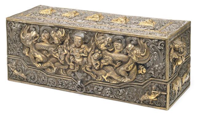 A parcel-gilt silver repoussé sacred sutra box Tibet, 18th/19th century