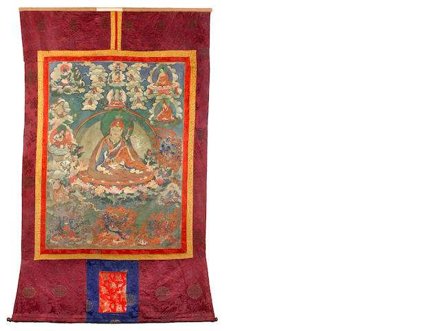A thangka of Padmasambhava and his eight emanations Mongolia, 18th/19th century