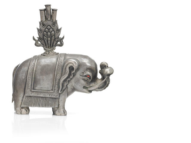 A silver elephant incense holder Mongolia, 20th century