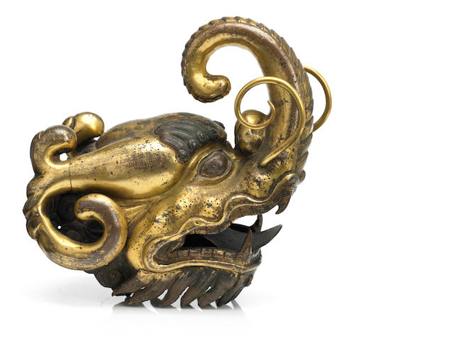 7.5A gilt copper alloy makara head Tibet, 18th century