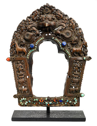 An inlaid copper alloy repoussé prabhamandala Tibet, 16th/17th century