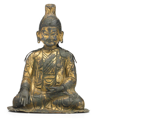 2.5A gilt copper alloy repousse figure of a Tibetan King, possibly Trisong Detsun Tibeto-Chinese, 18th century