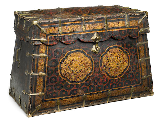 A leather bound document box Tibet, 15th/16th century