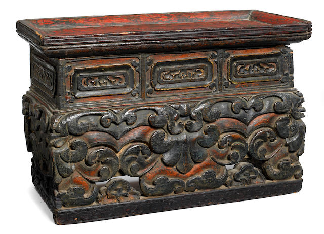 An altar table Tibet, 16th/17th century